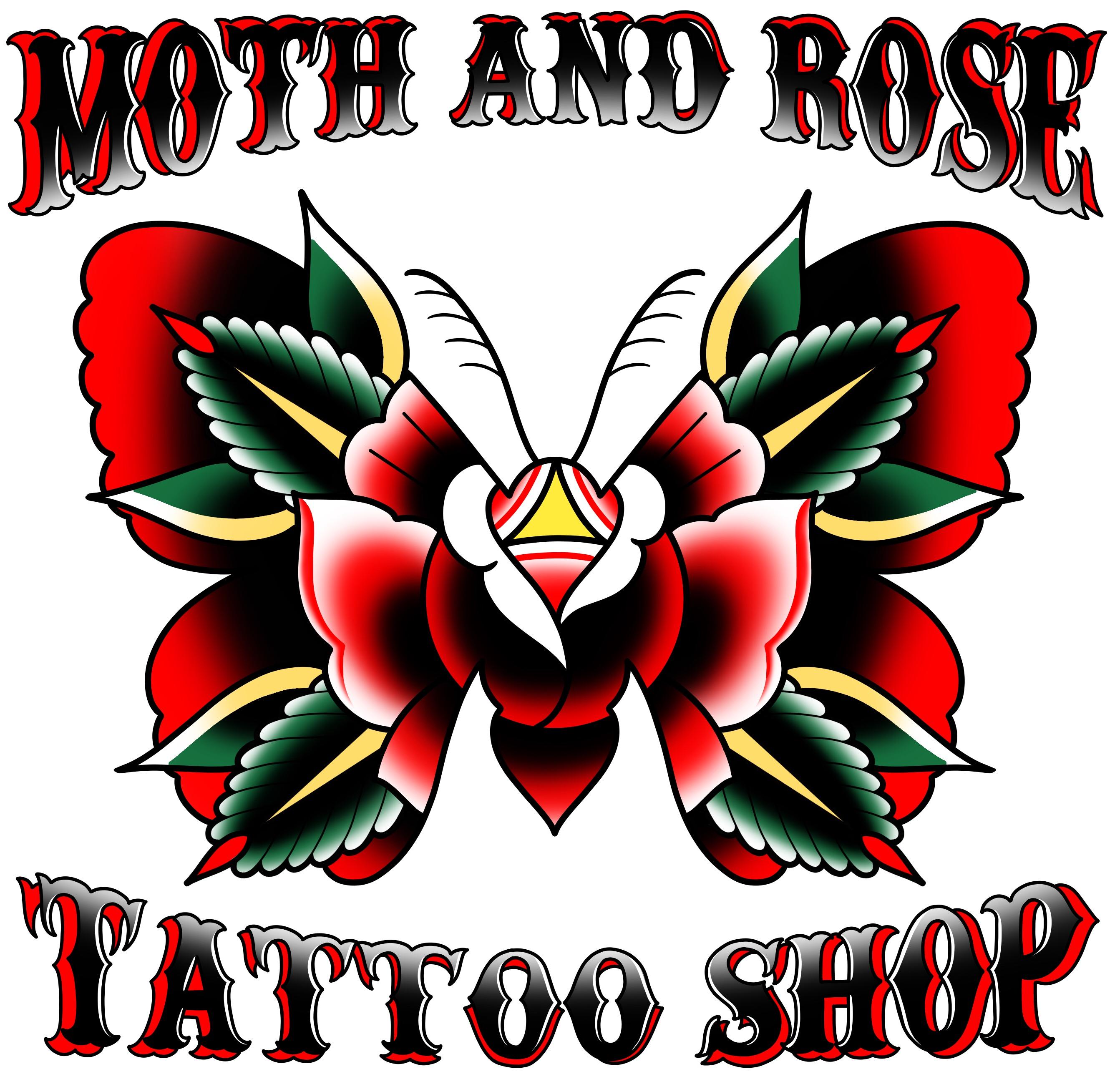 Moth and Rose Tattoo