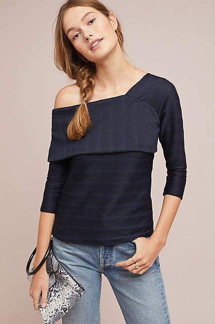 Blue Tassel Shuler One-Shoulder Top